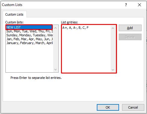 Creating New Sort List in the Custom List Dialogue Box