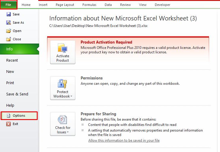 Options in File Menu in Excel