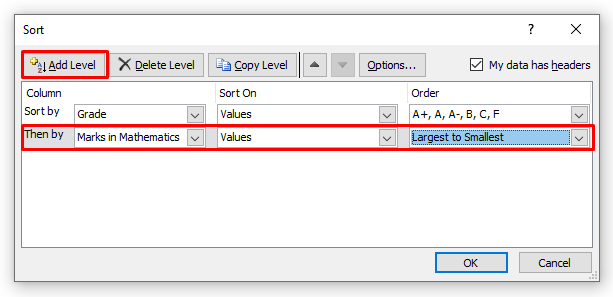 Adding Another Sorting Level after the Custom Sort Level