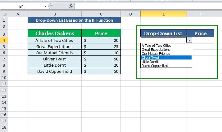 drop down list