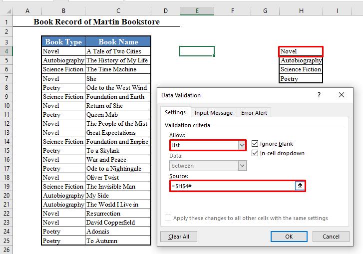 Data Validation Dialogue Box