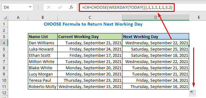 Formula using CHOOSE WEEKDAY and TODAY functions
