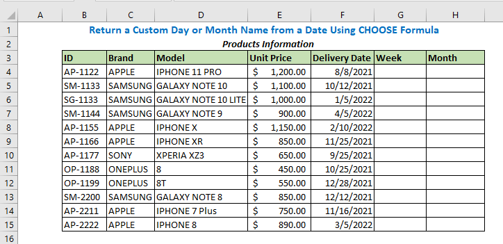 Return a Custom Day or Month Name from a Date Using CHOOSE Formula