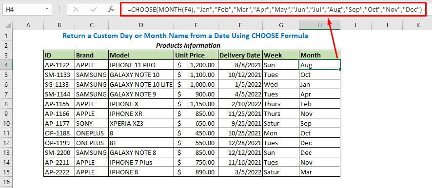 Formula using CHOOSE and MONTH