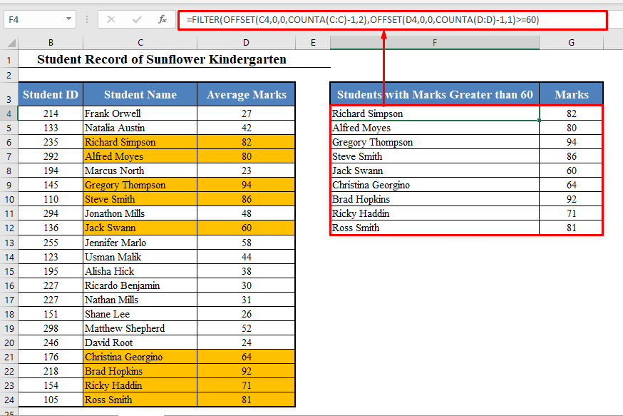 Dynamic List in Excel Based on Single Criteria with FILTER Function