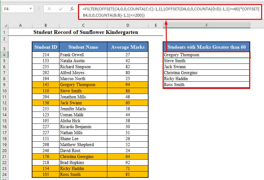Dynamic Function in Excel Based on Multiple Criteria with FILTER Function