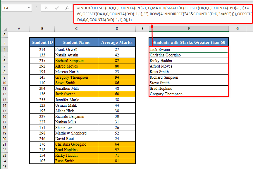 INDEX-MATCH Function to Make a Dynamic List in Excel Based on Single Criteria
