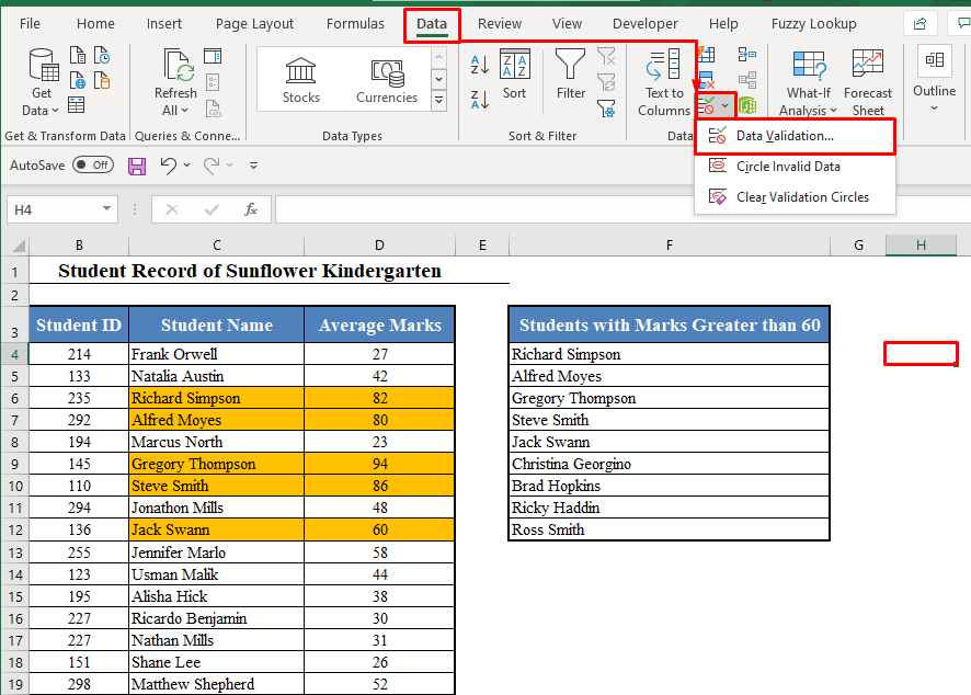 Data Validation Tool in Excel