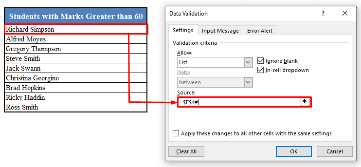 Data Validation Dialogue Box in Excel