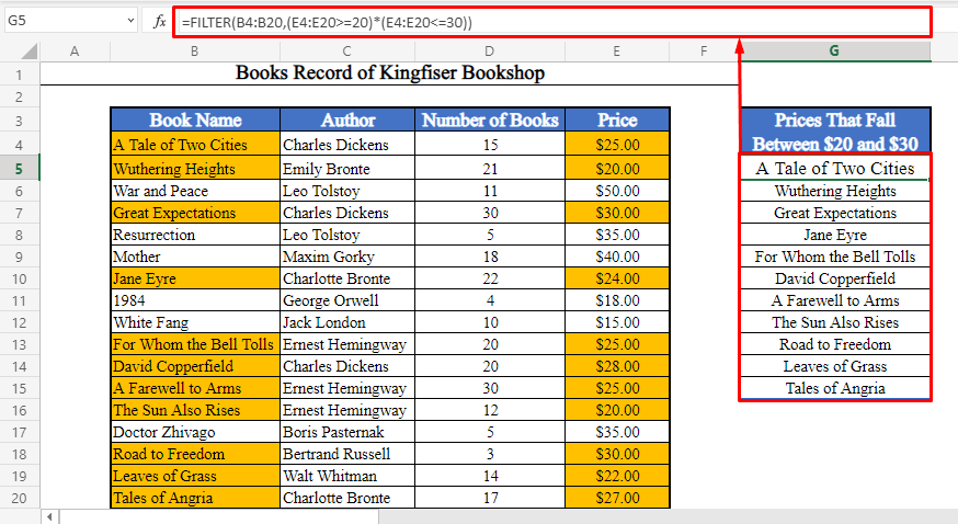 FILTER Function to Create a List of Books with Prices between Two Numbers