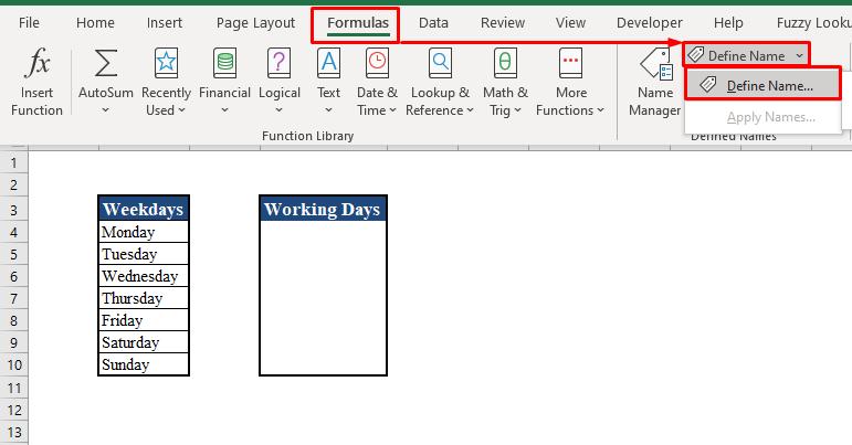 Define Name Tool in Excel Toolbar