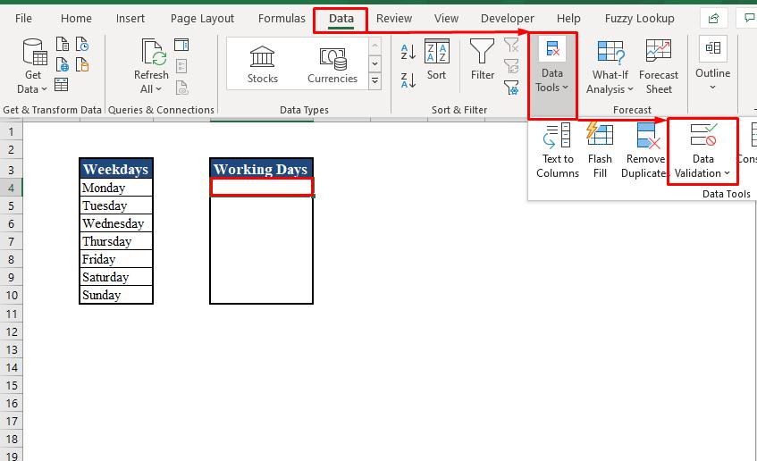 Data Validation Tool in Excel Toolbar