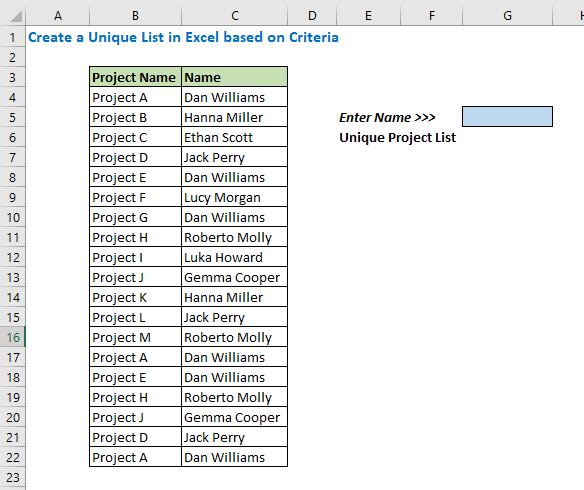 Create a Unique List in Excel based on Criteria