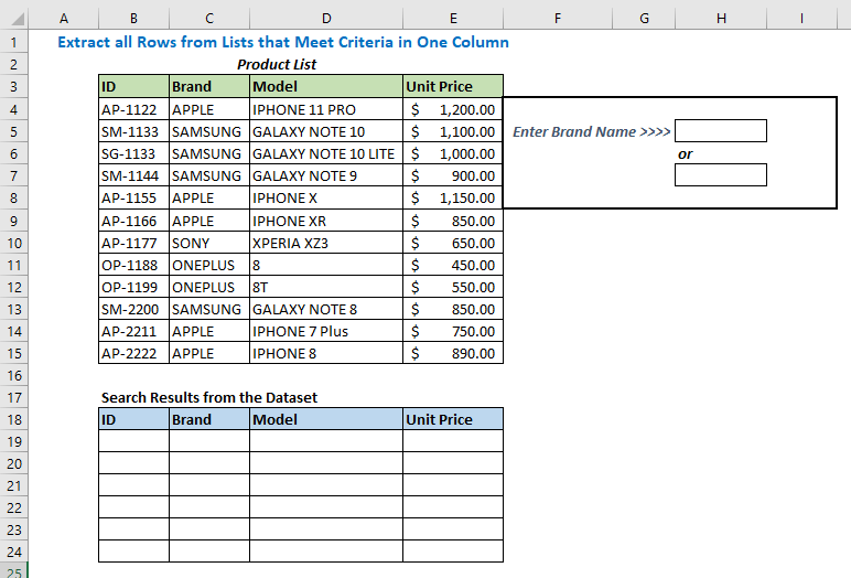 Extract all Rows from Lists that Meet Criteria in One Column Using Array Formula