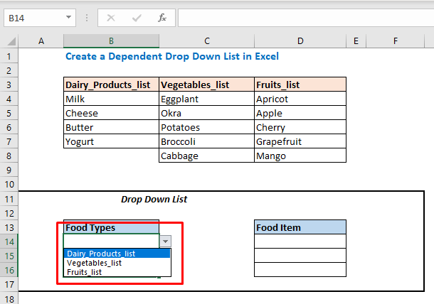 You will find a Drop-Down List in the Food Types column