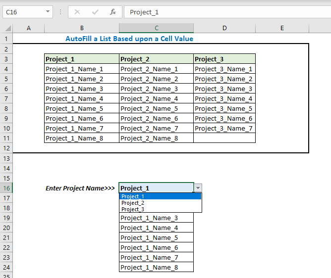 Now from the drop-down list select any project name