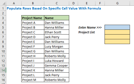 Populate Rows Based on Specific Cell Value with Formula