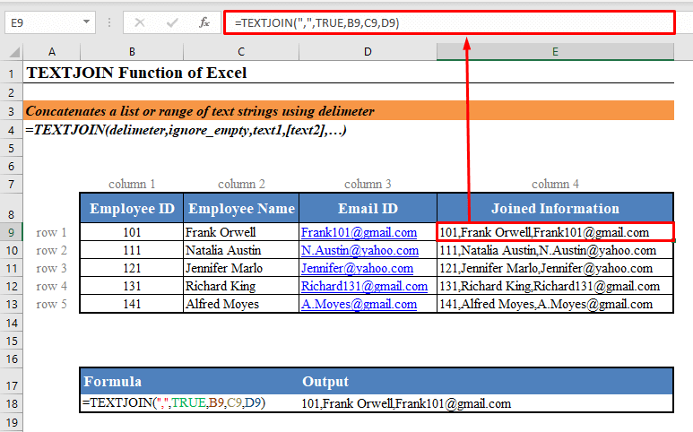 Excel TEXTJOIN Function Quick View