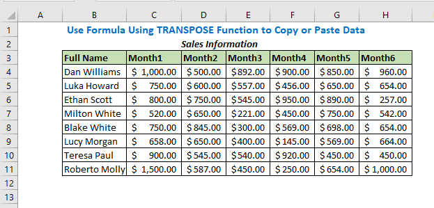Use Formula Using TRANSPOSE Function to Copy or Paste Data