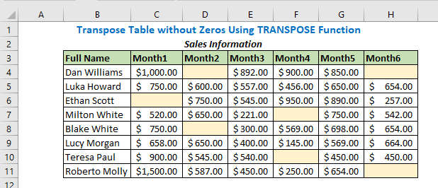 Transpose Table without Zeros Using TRANSPOSE Function