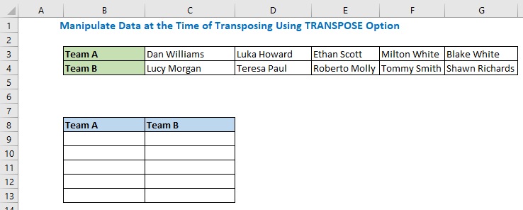 Manipulate Data at the Time of Transposing Using TRANSPOSE Option