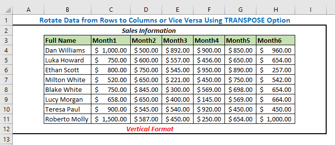 Rotate Data from Rows to Columns or Vice Versa Using TRANSPOSE Option