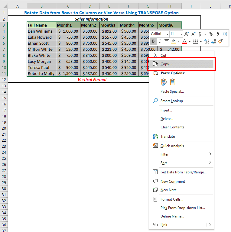 Select the dataset and copy them (Shortcut CTRL + C)