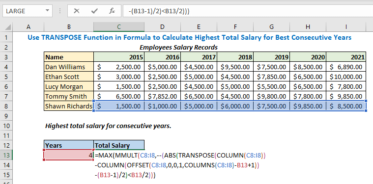 Enter formula using MAX MMULT COLUMNS OFFSET Functions