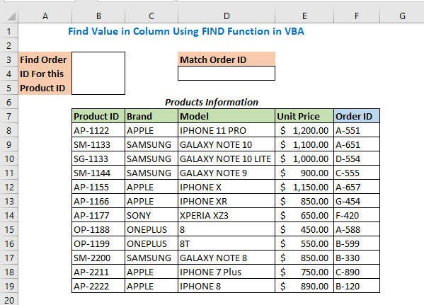 Find Value in Column Using FIND Function in VBA