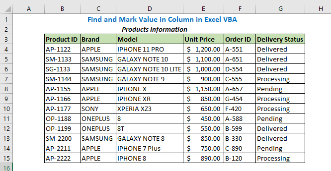 Find and Mark Value in Column in Excel VBA