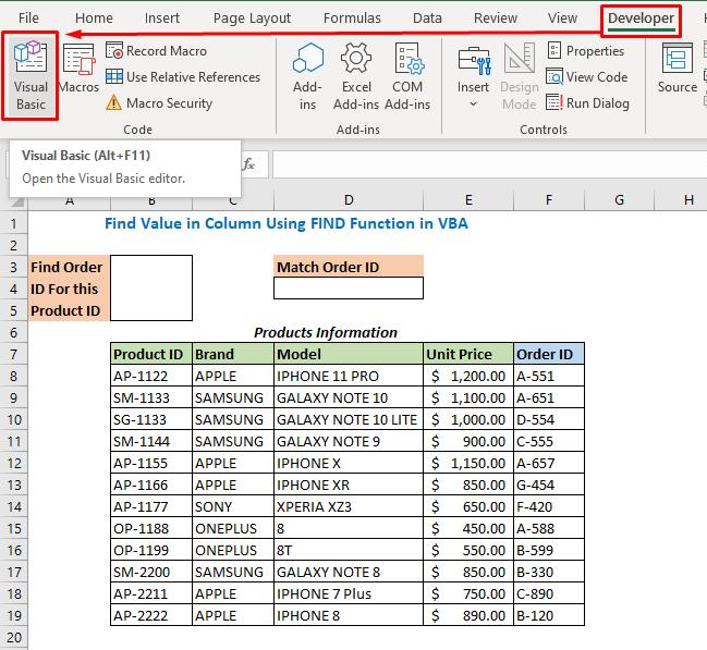 Excel VBA Find Value in Column