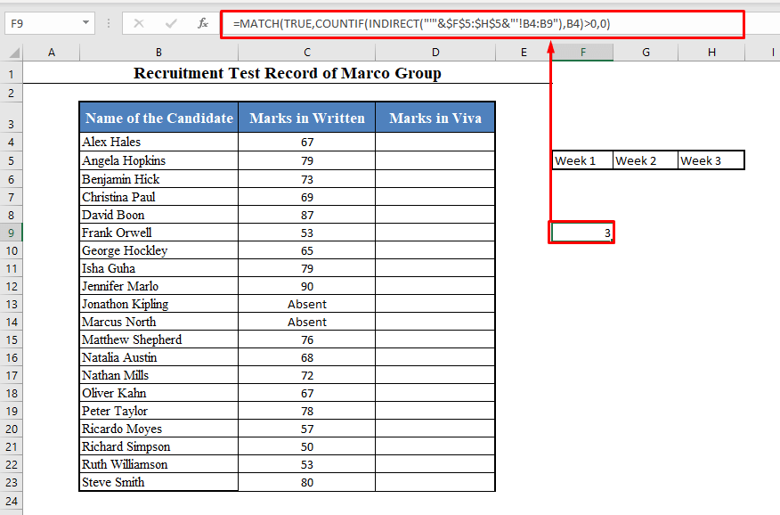 MATCH Function to Find out in Which Worksheet a Value is Present