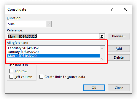 Inserting Cell References in the Consolidate Box