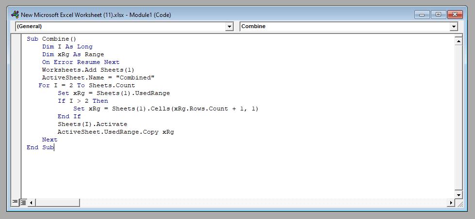 VBA Code in Excel