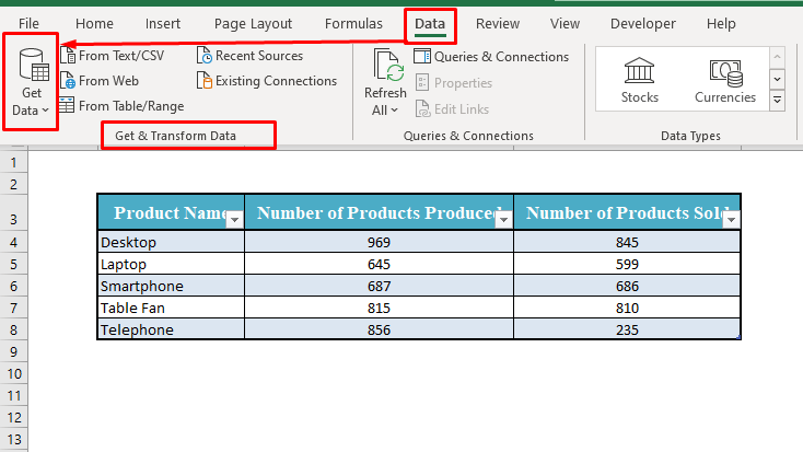 Get Data Tool in Excel Toolbar
