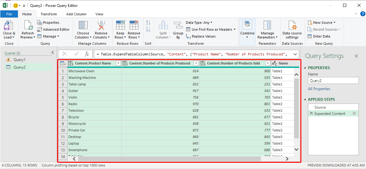 Table in the Power Query Editor