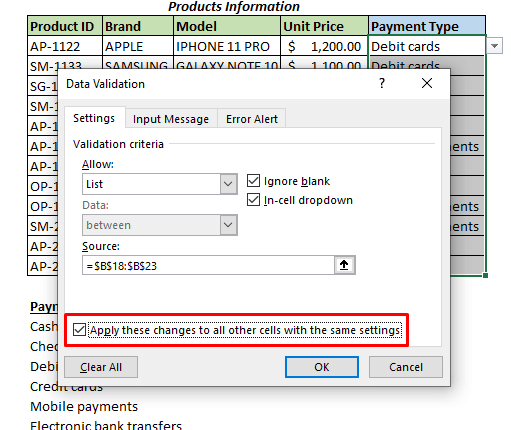 If you select Apply these changes to all other cells with the same setting checkbox,
