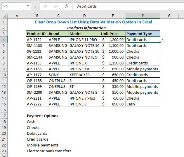 Clear Drop-Down List from Data Validation Option in Excel