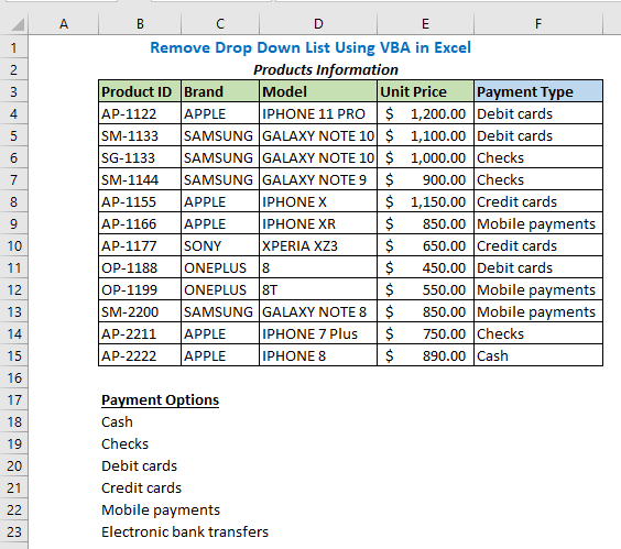 Remove Drop Down List Using VBA in Excel