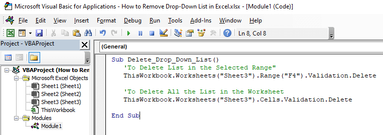 Step 3: Write the following code in the VBA console
