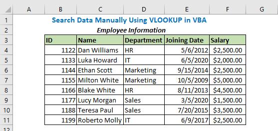 Search Data Manually Using VLOOKUP in VBA