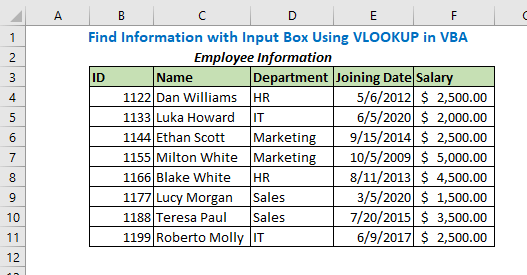 Find Information with Input Box Using VLOOKUP in VBA