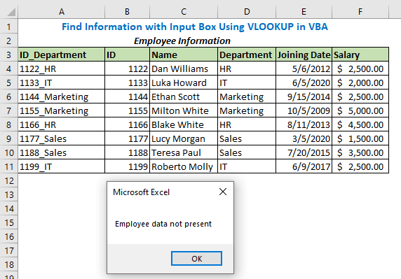 If you enter the wrong ID or Department, it will show the below message