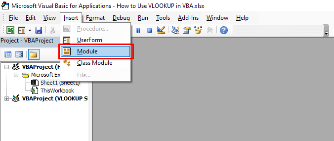 Then a window will come. Select Module option under Insert button