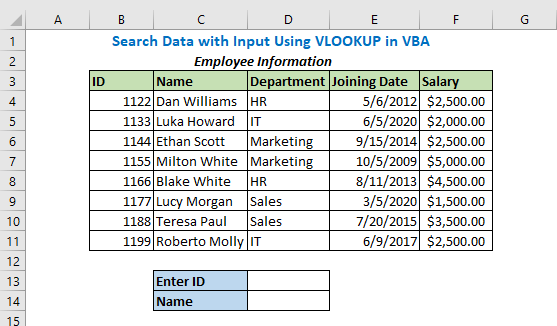 Search Data with Input Using VLOOKUP in VBA