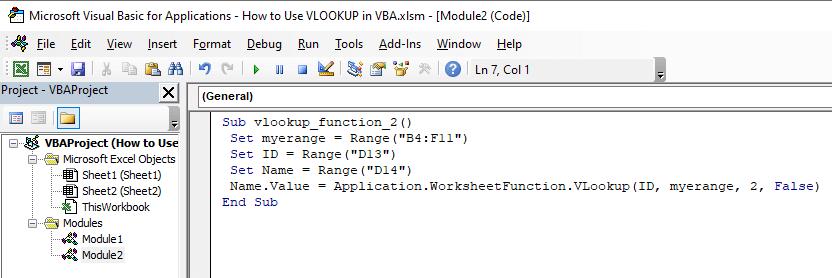 VBA code using VLOOKUP function