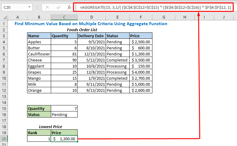 Formula with AGGREGATE function