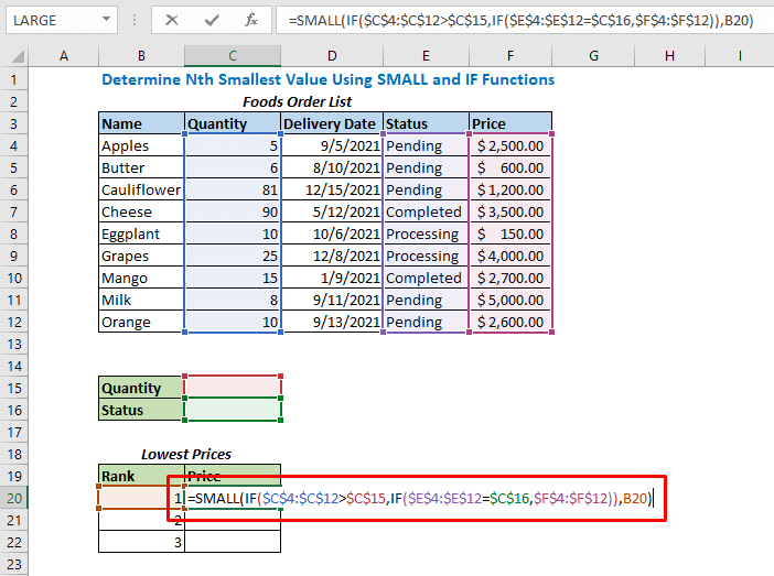 Formula using SMALL and IF functions