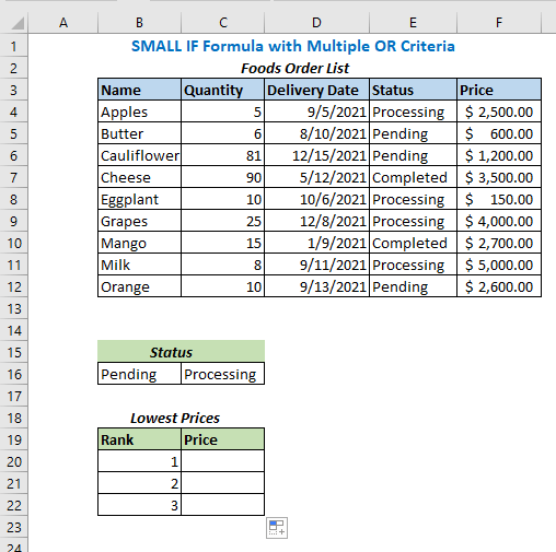SMALL IF Formula with Multiple OR Criteria