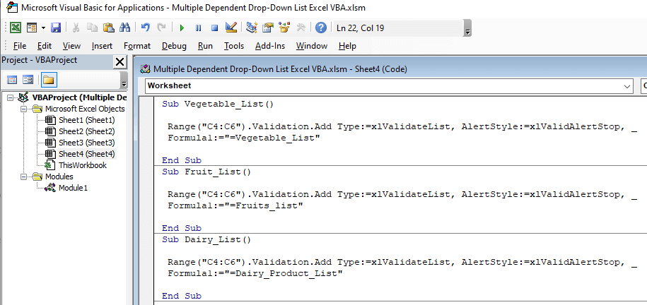 Open the VBA console by following the same steps from method 1 (Step 1 and Step 2) then write the following code.